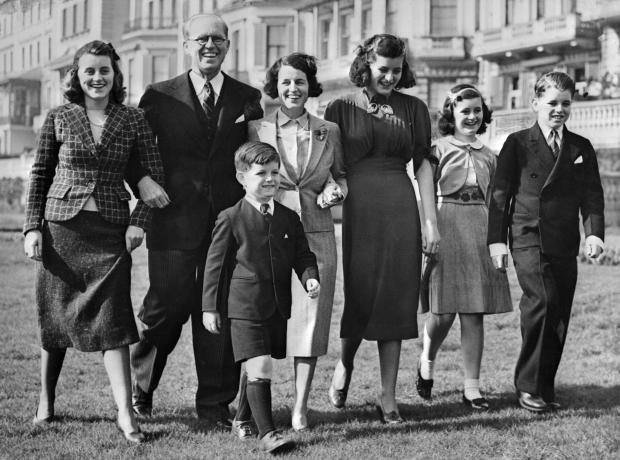 The Kennedy clan in 1938. Kathleen Kennedy is at the far left.