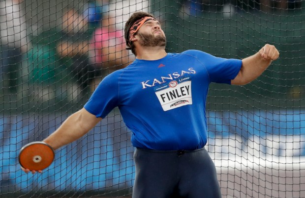 Mason Finley competes during the men''s discus throw final at the U.S. Olympic Track and Field Trials, Friday, July 8, 2016, in Eugene Ore.