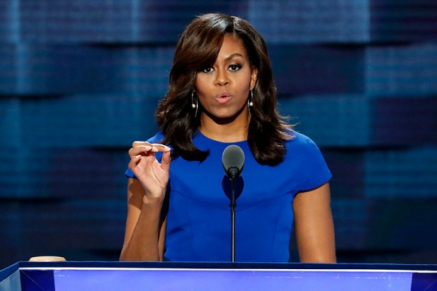 First lady Michelle Obama speaks Monday night at the Democratic National Convention in Philadelphia.