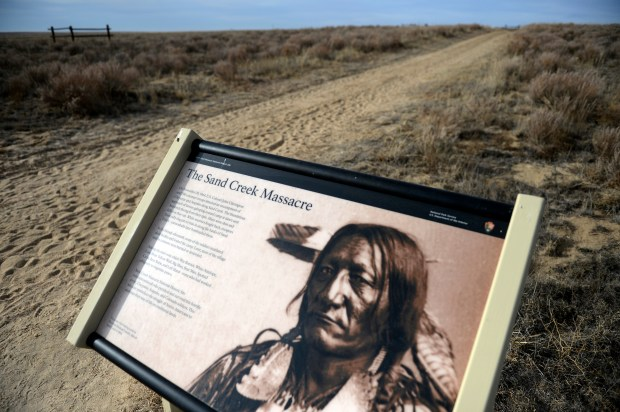 A descriptive sign with a picture of a Cheyenne Chief greets visitors of the Sand Creek Massacre National Historic site in Kiowa County near Eads.