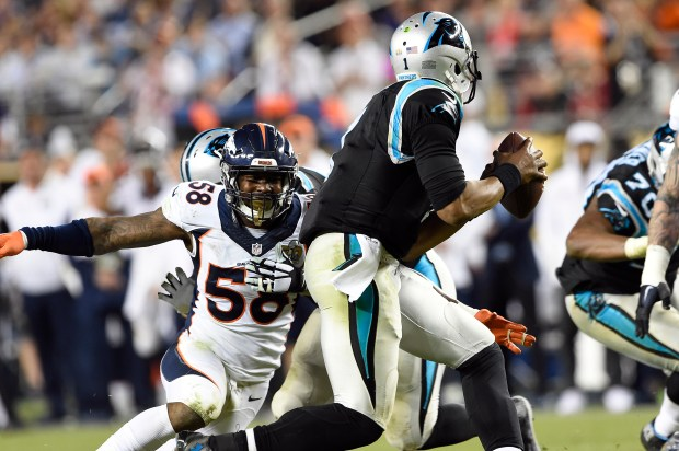 The Broncos' Von Miller sets his sights on Carolina Panthers quarterback Cam Newton during Super Bowl 50. Miller agreed last Friday to a six-year, $114.5 million contract that includes $70 million guaranteed and a $23 million signing bonus, making him the highest-paid non-quarterback in NFL history.