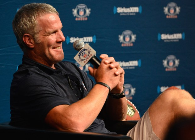 Brett Farve speaks during the SirusXM's Town Hall at Umstattd Hall at The Zimmerman Symphony Center on August 5, 2016 in Canton, Ohio.