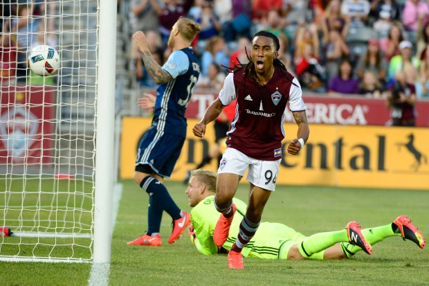 Colorado Rapids defender Marlon Hairston celebrates after scoring a goal during the game against the Vancouver Whitecaps on August, 6, 2016at Dick's Sporting Good Park.