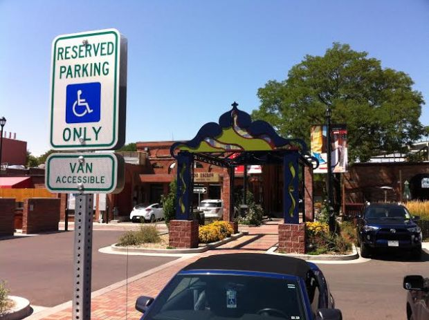 A disabled parking spot in Longmont. The Denver auditor slammed the lack of disabled parking in publicly accessible lots and subpar enforcement of parking scofflaws in an August 2016 report.