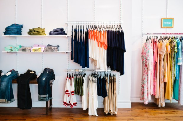 Samples to try on for home delivery and in-stock merchandise line the walls at ModCloth's Portland, Ore. pop-up shop.