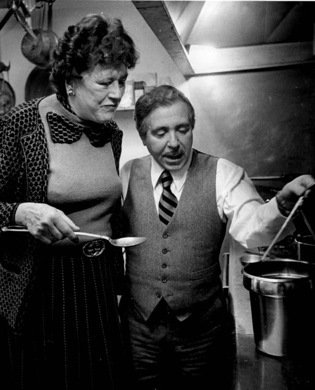 Famed chef and author Julia Child cook with Pierre Wolfe in 1979.