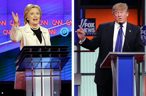 At left, Hillary Clinton participates in an April 14 Democratic primary debate in New York. At right, Republican Donald Trump participates in a March 3 primary debate in Detroit.