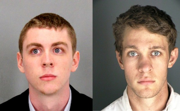 Former Stanford swimmer Brock Turner, left, received a six-month jail sentence earlier this year for sexually assaulting an unconscious woman. Former University of Colorado student Austin James Wilkerson, right, was given two years in jail with work or study release, after being convicted of rape in a similar case.