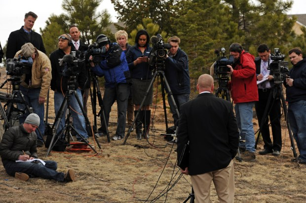 Lt. Jeff Kramer of the El Paso County Sheriff's Department holds a press conference on March 20, 2013, in Monument, near the home of prisons chief Tom Clements. Clements was shot and killed by paroled convict Evan Ebel, though it's still unclear whether others were involved.