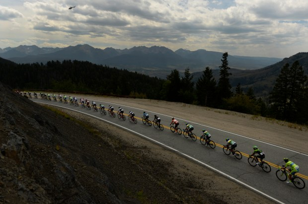 The USA Pro Challenge peloton makes its way down Ute Pass Road in 2015.