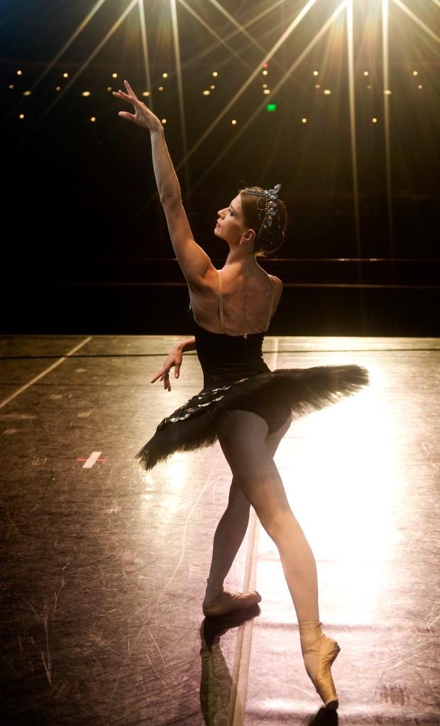 "Maria Mosina rehearses for the Colorado Ballet's production of ""Swan Lake"""