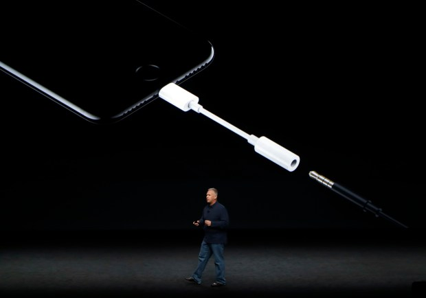 Phil Schiller, Apple's senior vice president of worldwide marketing, talks about the features on the new iPhone 7 earphone options during an event to announce new products on Wednesday in San Francisco.