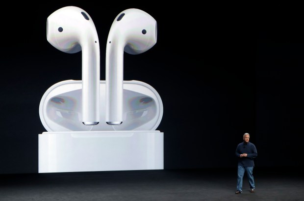 Phil Schiller, Apple's senior vice president of worldwide marketing, talks about the features on the new iPhone 7 earphone options during an event to announce new products Wednesday, Sept. 7, 2016, in San Francisco.
