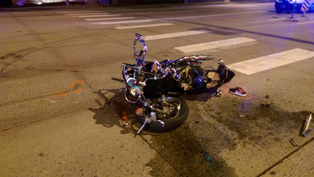 The remnants of the fatal crash are shown.