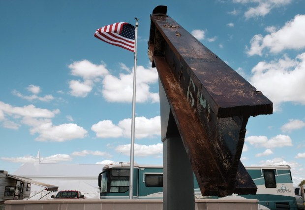 A beam from the destroyed World Trade Center buildings, part of the 9/11 Memorial near the Veterans' Pavilion at the Fulton County Fair, rests in Wauseon, Ohio on Sept. 3, 2016.