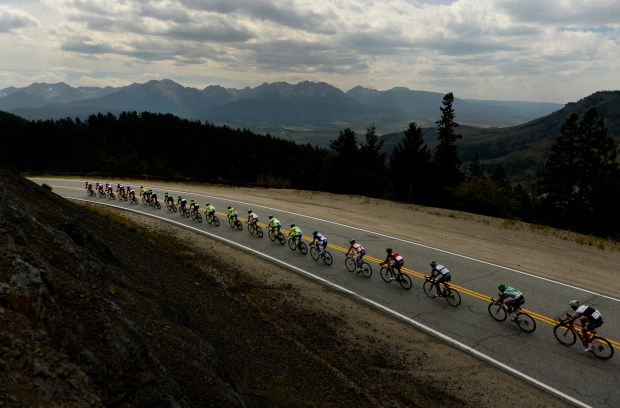 he peloton makes its way down Ute Pass Road heading towards Silverthorne in Stage 2 of the USA Pro Challenge from Steamboat Springs on Aug. 18, 2015.