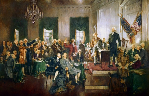 This 1940 painting by Howard Chandler Christy, shows the signing of the U.S. Constitution on Sept. 17, 1787. It hangs in the east stairway in the House wing of the U.S. Capitol.