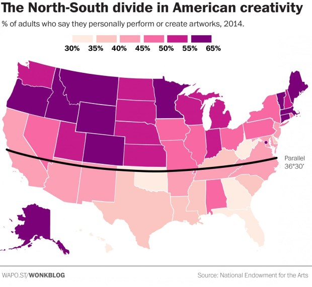 The North-South divide in creativity. MUST CREDIT: National Endowment for the Arts.