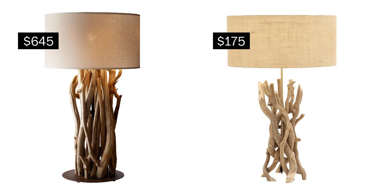 Splurge: Salvaged Driftwood Table Lamp (restorationhardware.com), $645,  Left;