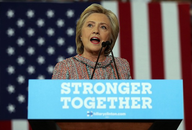 Democratic presidential nominee Hillary Clinton speaks during a campaign rally Thursday in Greensboro, N.C.