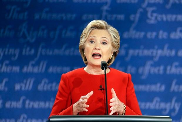 Democratic presidential nominee Hillary Clinton speaks during Monday night's presidential debate with Republican Donald Trump at Hofstra University in Hempstead, N.Y.