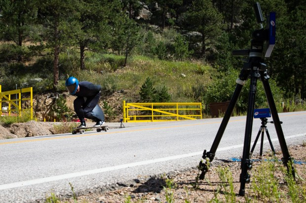Denver skateboarder wore a speed suit over his leathers to set the world speed record of 89.4 mph on Aug. 29 at an undisclosed location in Colorado. Photo by @connorwelles