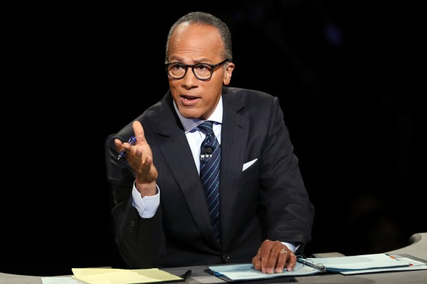"""Moderator Lester Holt, anchor of """"NBC Nightly News,"""" asks a question during Monday night's presidential debate."""
