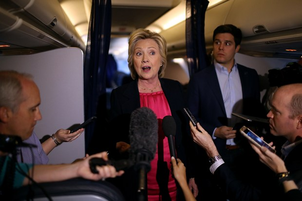 Democratic presidential nominee speaks to members of the media aboard her campaign plane on Sept. 6.