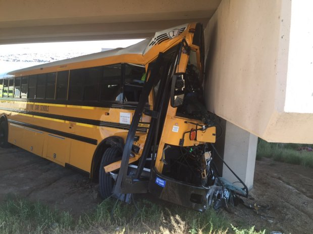 A school bus crashed at Denver International Airport on Sept. 11, 2016.