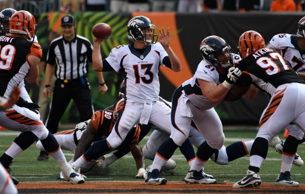 Trevor Siemian (13) throws a pass during the fourth quarter