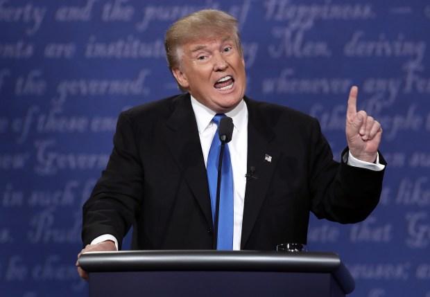 Republican presidential nominee Donald Trump speaks during Monday night's presidential debate at Hofstra University.