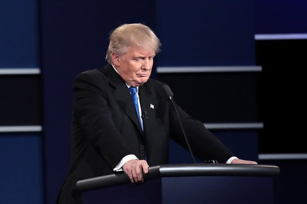 Republican presidential nominee Donald Trump pauses Monday night's presidential debate at Hofstra University.