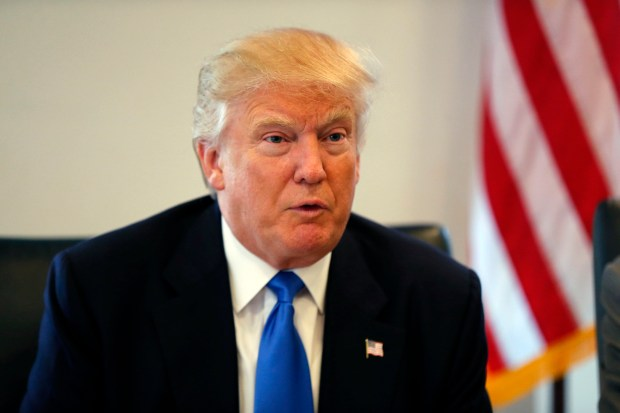 Republican presidential nominee Donald Trump holds meeting in his offices at Trump Tower in New York on Aug. 25.