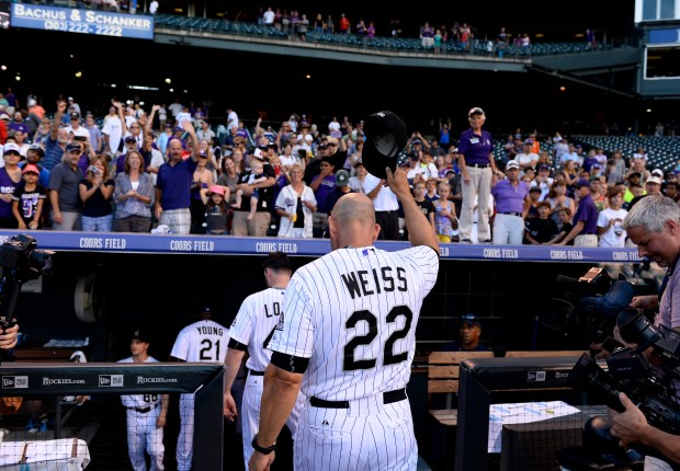 Colorado Rockies manager Walt Weiss tips his hat to fans as he leaves the field at the end of the final home game at Coors Field on September 27, 2015 in Denver, Colorado. It was the last game of the season. The Colorado Rockies beat the Los Angeles Dodgers 12-5. Helen H. Richardson, The Denver Post