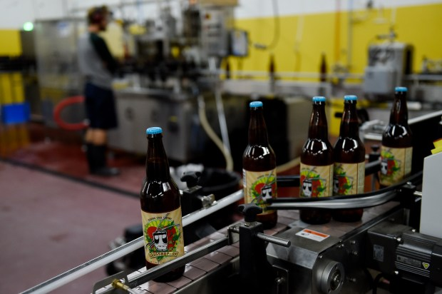 Bottles of Grasshop-Ah cider roll off the bottling line at Colorado Cider Company in Denver, Colorado on September 13, 2016. Lakewood will host Cider Days the first weekend in October. (Photo by Seth McConnell/The Denver Post)
