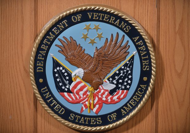 The seal of the Department of Veterans Affairs is seen in an auditorium on February 5, 2013 at the Department of Veterans Affairs in Washington.