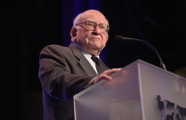 Honoree Edward Asner accepts the Lifetime Achievement Award onstage during The Humane Society Of The United States' Los Angeles Benefit Gala at the Beverly Wilshire Hotel on May 16, 2015 in Beverly Hills, California.