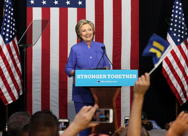 Democratic presidential candidate Hillary Clinton speaks at a campaign rally in Wilton Manors, Fla., on Sunday.