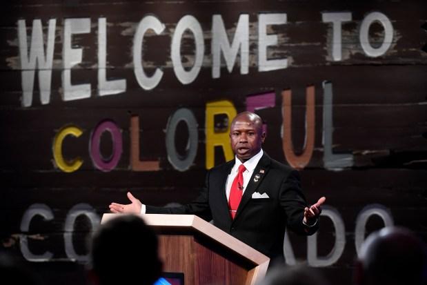 Darryl Glenn speaks at a debate at the History Colorado Center.