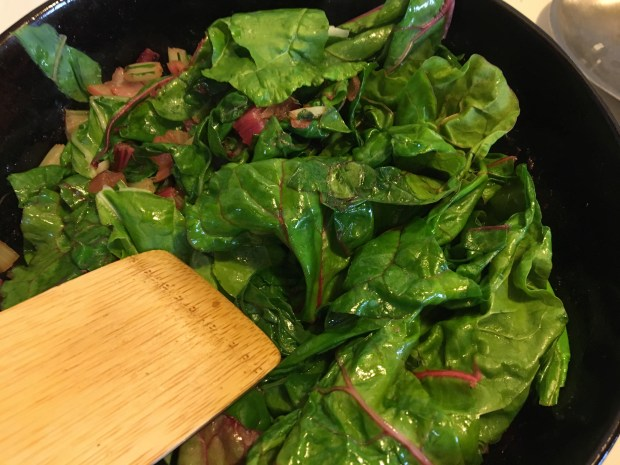 Chard Leaves in a skillet