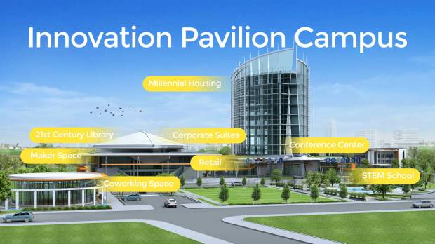 Innovation Part 2: Centennial's Innovation Pavilion is planning a national expansion with campuses nationwide that include a STEM school, maker space and millennial housing. Artist rendering of the future campus.