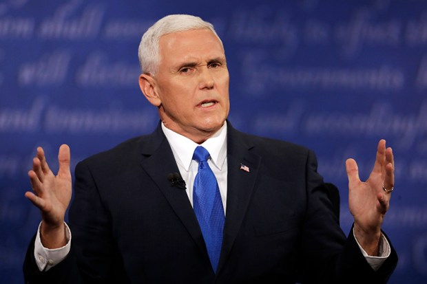 Republican vice-presidential nominee Mike Pence speaks during Tuesday night's debate against Sen. Tim Kaine.