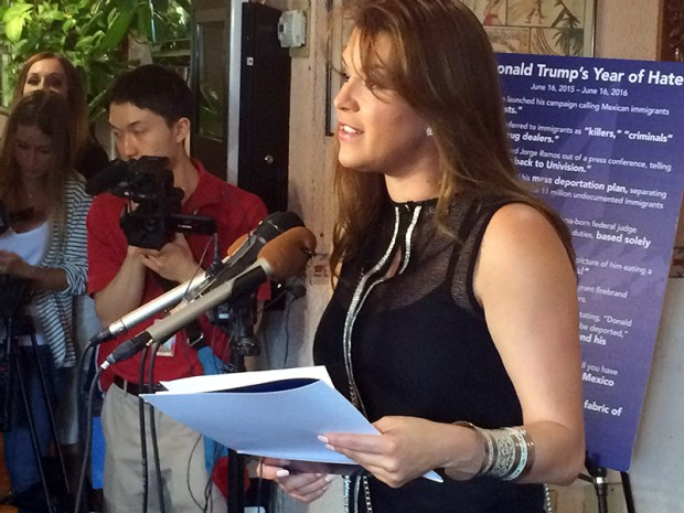 Former Miss Universe Alicia Machado speaks during a June 15 news conference in Arlington, Va., to criticize Republican presidential candidate Donald Trump. Machado became a topic of conversation during the first presidential debate between Trump and Democratic candidate Hillary Clinton last Monday.