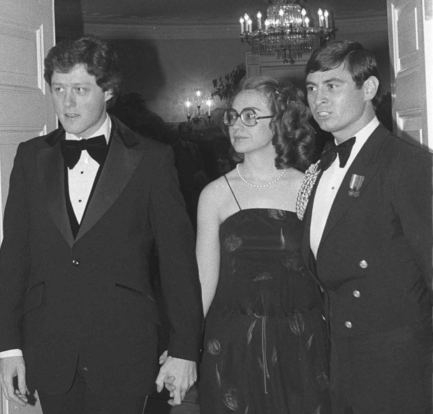 Arkansas Gov. Bill Clinton and first lady Hillary Clinton attend a dinner honoring the nation's governors at the White House on Feb. 27, 1979.