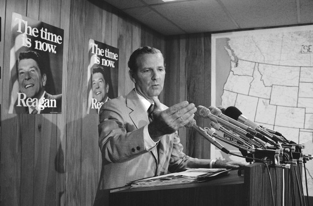James Baker, a senior campaign adviser to Ronald Reagan, gestures during a news conference, Wednesday, August 27, 1980 in Washington, concerning the proposed debates between President Carter and Ronald Reagan. Baker, who is in charge of the GOP side of debate negotiations, said ?We very much want a one-on-one debate. (AP Photo/Charles Tasnadi)