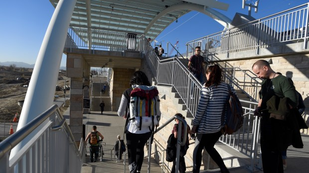 Riders get off from the B Line train to the Westminster platform November 9, 2016 where the city is investing big bucks into the area, including a $40M park along Little Dry Creek and the Adams County Housing Authority is already moving forward on a mixed-use affordable housing project at 71st and Federal.