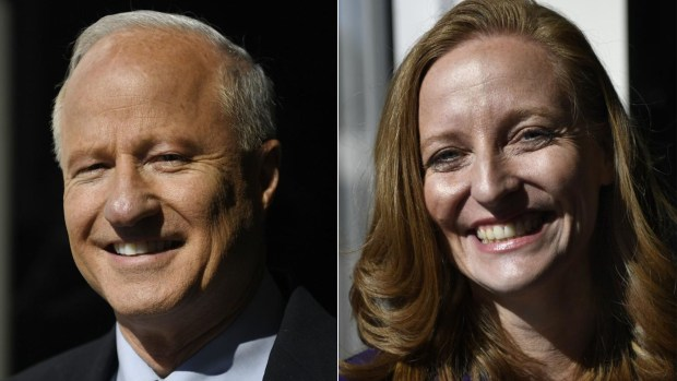 U.S. Rep. Mike Coffman and Morgan Carroll, photographed at Univision TV studios on October 4, 2016.