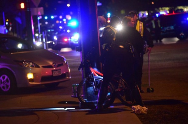 Boulder police investigate the death of a cyclist who was struck by the driver of a semitrailer at 28th Street and Arapahoe Avenue on Nov. 30, 2016.