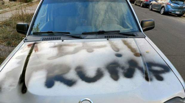 Amber Timmons, a transgender woman, woke Wednesday morning to find graffiti covering her Nissan SUV on Nov. 16, 2016.