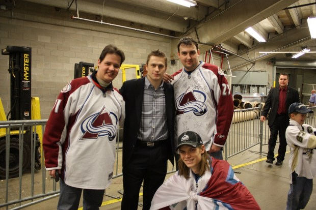 Former Avalanche winger Marek Svatos (street clothes) is with three members of the team's European fan club at the Pepsi Center in 2008. David Puchovsky, Svatos' fellow Slovak and president of the group, Eurolanche, is at lower right. This was Eurolanche's first of what became annual trips to Denver for Avalanche games.